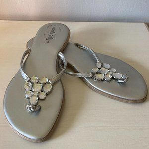 Silver Sandals with Crystal design on top